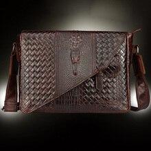 Nouveau sac daffaires rétro en cuir véritable pour hommes porte-documents motif Crocodile