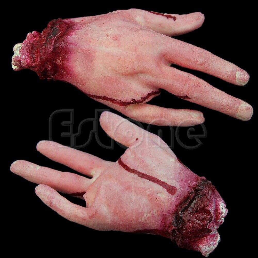 Halloween horror adereços lifesize sangrenta mão assombrada casa festa assustador decoração