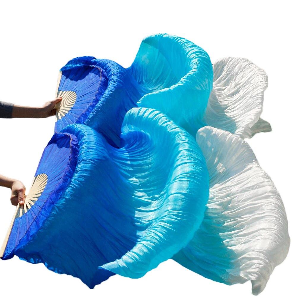 New Arrivals Stage Performance Dance Fans 100% Silk Veils Colored  Women Belly Dance Fans Royal blue + Turquoise + White (2pcs) new design turquoise blue panther leopard bracelets