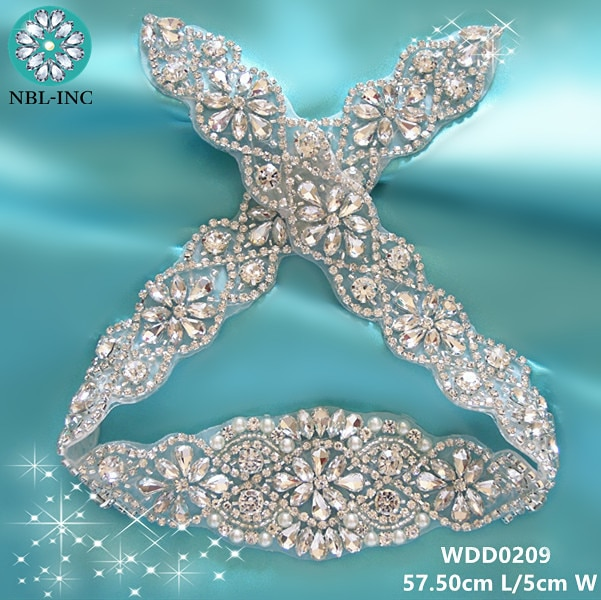 (30 piezas) venta al por mayor de boda con cuentas de diamantes de imitación de cristal, apliques de hierro de oro para vestidos de boda cinturón WDD0209