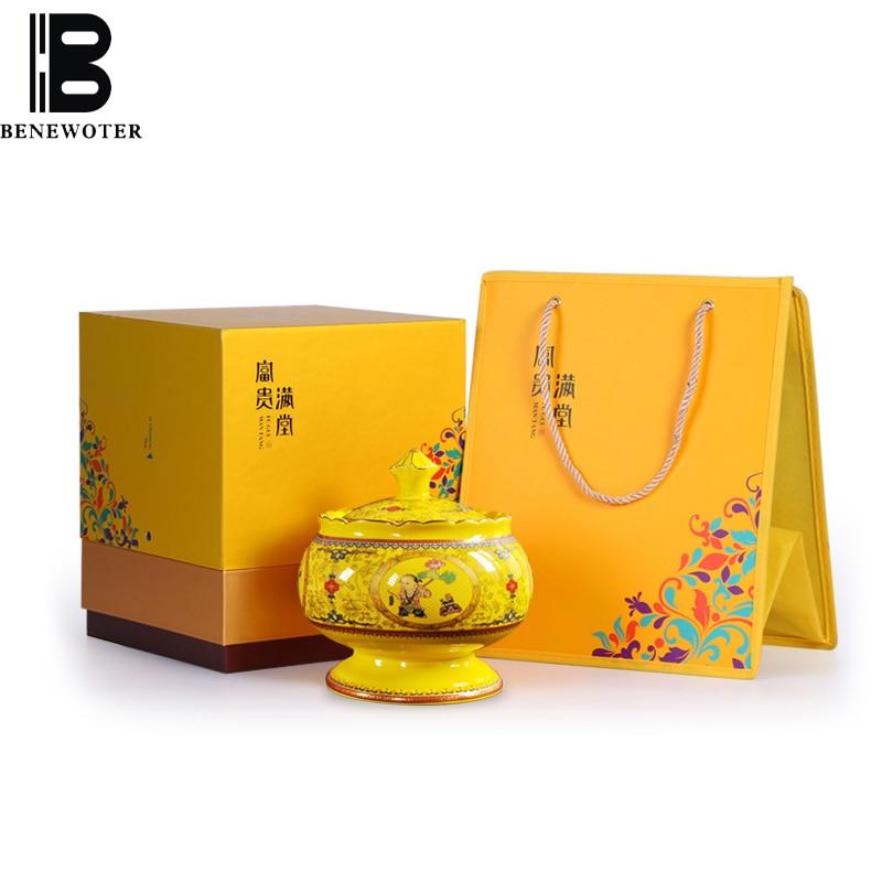 Latas de té de cerámica de estilo Palacio Chino Puer Longjing Kung Fu, caja de regalo, juego de té, tarro de almacenamiento multifunción para café dulces y nueces