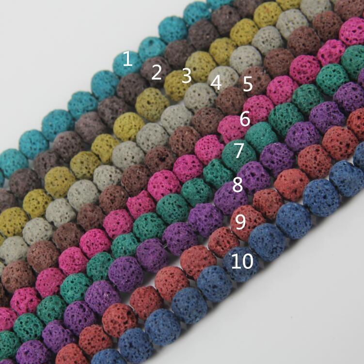12 kolor kolorowe lawa okrągłe luźne koraliki biżuteria, Rainbow naturalny skały wulkaniczne kamień koraliki bransoletka naszyjnik Making
