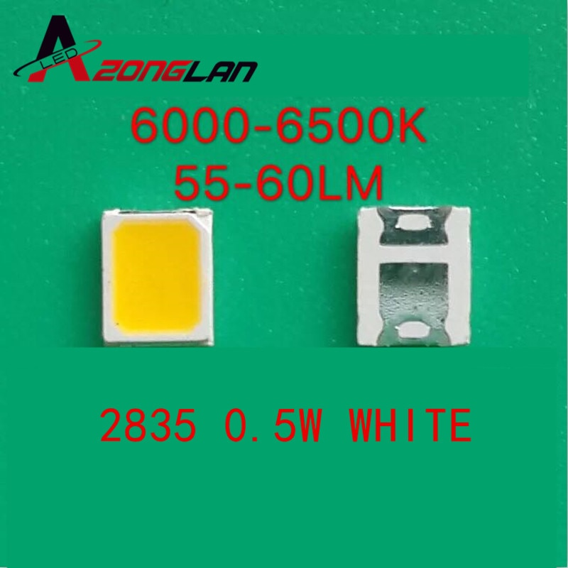 100pcs 2835 LED 0.5W Branco SMD/SMT 150Ma 50-65lm PLCC-2 2835 Branco 6000-6500K 2835 díodos LED de Alta Potência Ultra Brilhante LED SMD