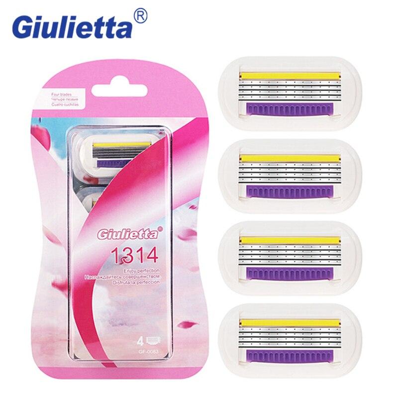 Giulietta GF4-0083 Shaving Razor Blade For Women 4pcs/lot 4 Layer Stainless Steel Safety Beauty Set Female Shaver Blades Head