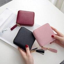 Womens Leather Wallet Japanese Small Handbag Ladies Wallet Purse Simple Square Zipper Tassel Pendant Wallet Clutch