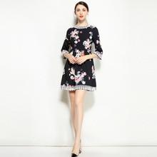 Haute Qualité 2019 Printemps Été Nouvelle Robe de Designer Femmes Casual Ange Imprimer Dentelle Côté Recadrée Manches Incroyable Taille Haute robe