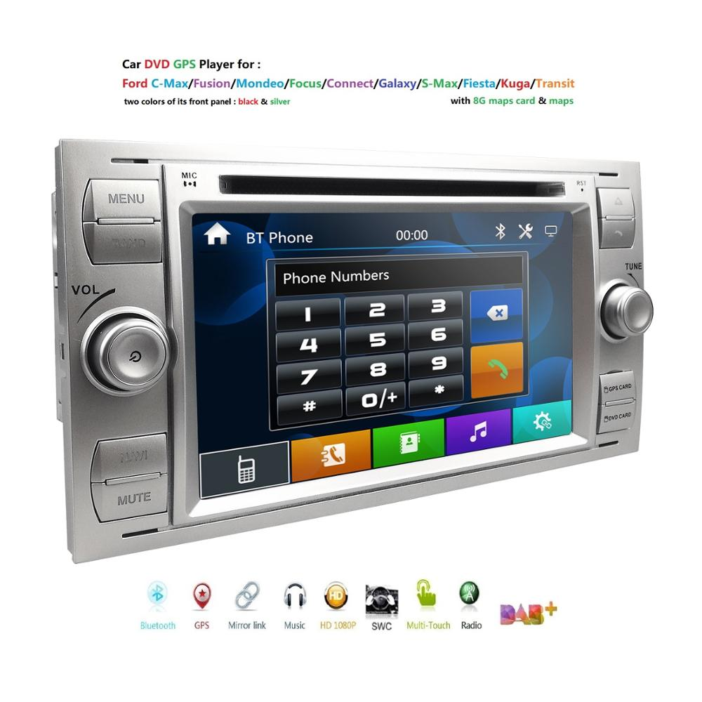 2din carro dvd gps navi player rádio estéreo de áudio para ford focus 2 mondeo s c max fiesta galaxy conectar com 8g mapa usb rds swc bt