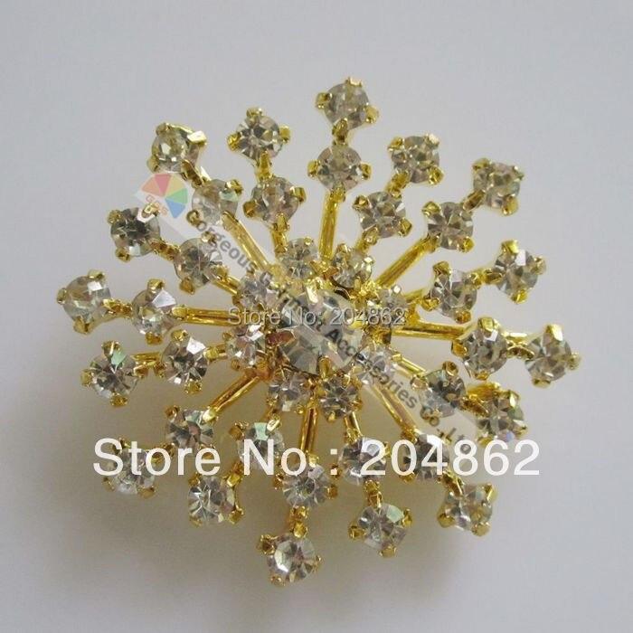 20 piunids/lote 38mm araña centro de mesa claro cristal checo Diamante de imitación botón en oro o plata ajuste para DIY caballo brocha hacer