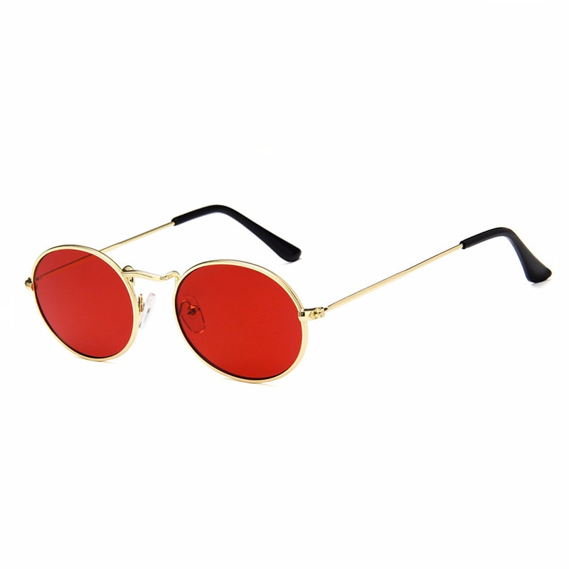 Fashion black small oval sunglasses women retro 2018 metal frame yellow red lens round vintage sun g
