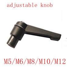 1 pçs m5/m6/m8/m10/m12 fêmea rosca ajustável lidar com botão de metal fio preto ajustável alças alavanca