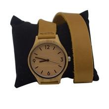 Nouvelles montres en bois de bambou en cuir de femmes de mode avec de longues bandes de montre en cuir Geunine meilleurs cadeaux pour les filles amies