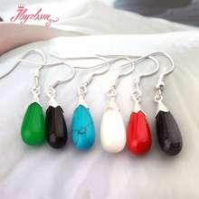 8x16mm larme pierre perle Marcastie argent tibétain pour la fête à la mode Stu d boucle doreille 1 paire de noël femmes cadeau, livraison gratuite