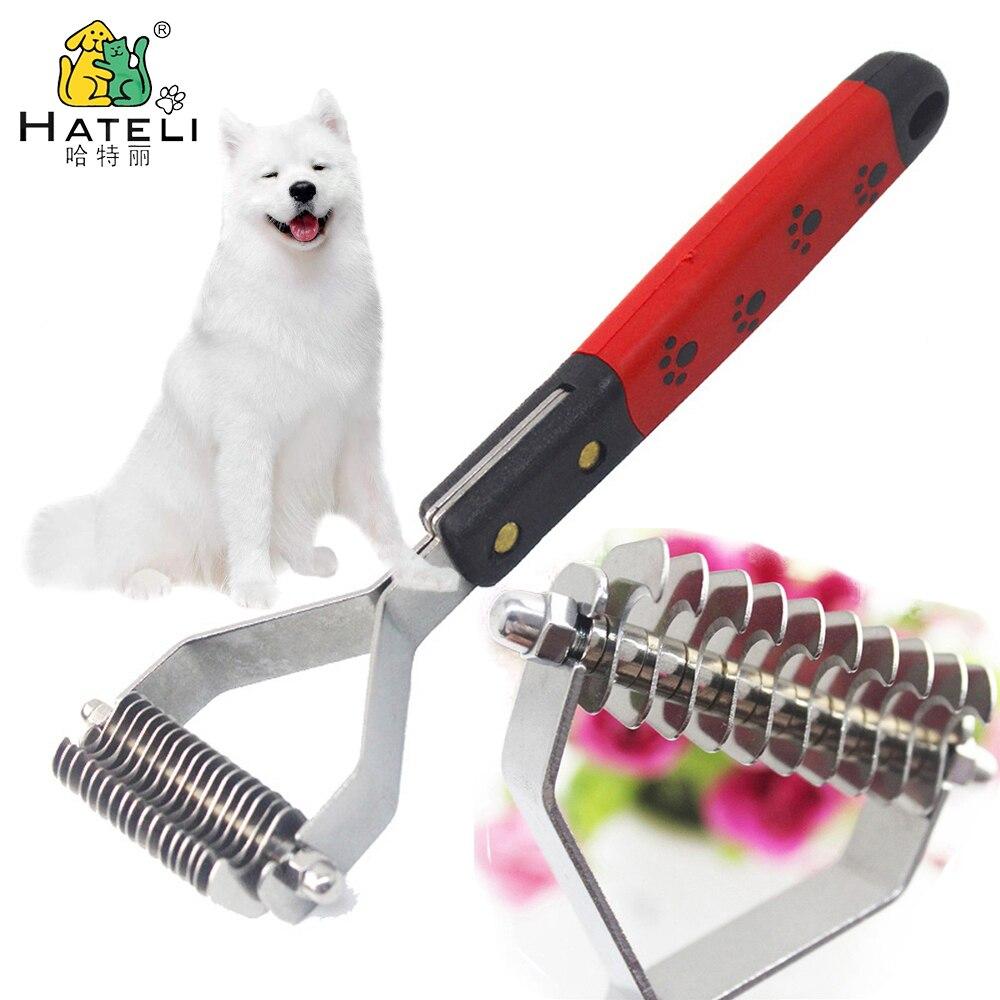 Hateli rastrillos de mascota perro con pelo cortador de nudos cepillo de aseo para gatos mascotas Trimmer peine vertimiento rastrillo corto largo diseño Hair Metal 10/13/18 cuchillas