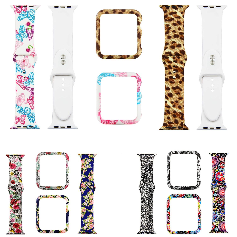 Correa de silicona con estampado de flores de leopardo para Apple Watch, marco de la cubierta de la correa 44mm 42mm 40mm 38mm, pulsera de muñeca para iWatch, bandas de la Caja