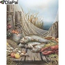"DIAPAI 5D DIY diamante pintura 100% cuadrado completo/taladro redondo ""animales peces Camarón"" diamante bordado punto de cruz 3D decoración A21780"