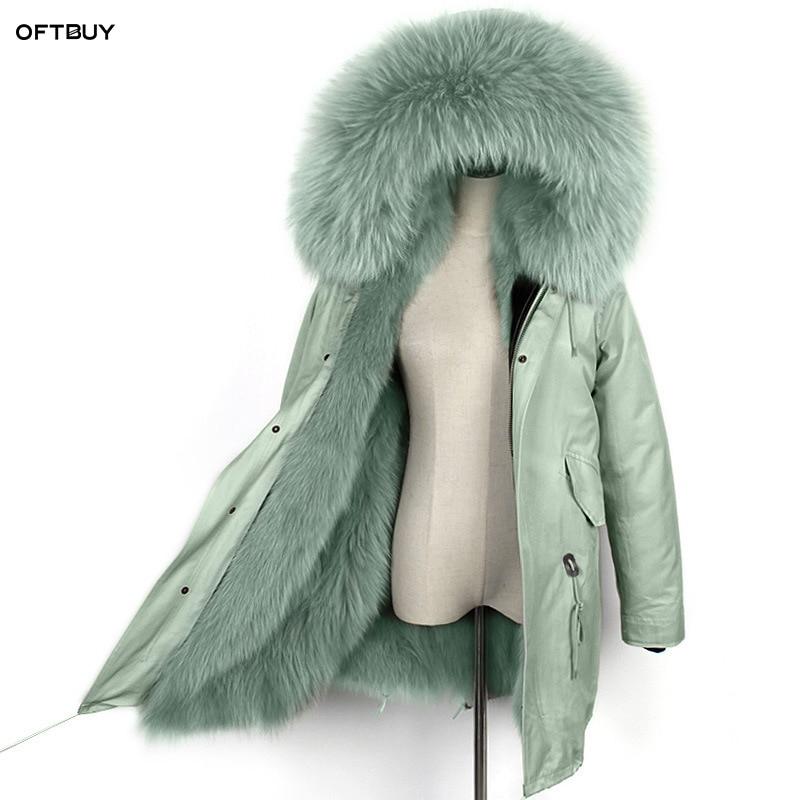 OFTBUY, 2020, parka larga impermeable, chaqueta de invierno para mujer, abrigo de piel real natural, cuello de piel de mapache, forro de piel de zorro, prendas de vestir coreano nuevo