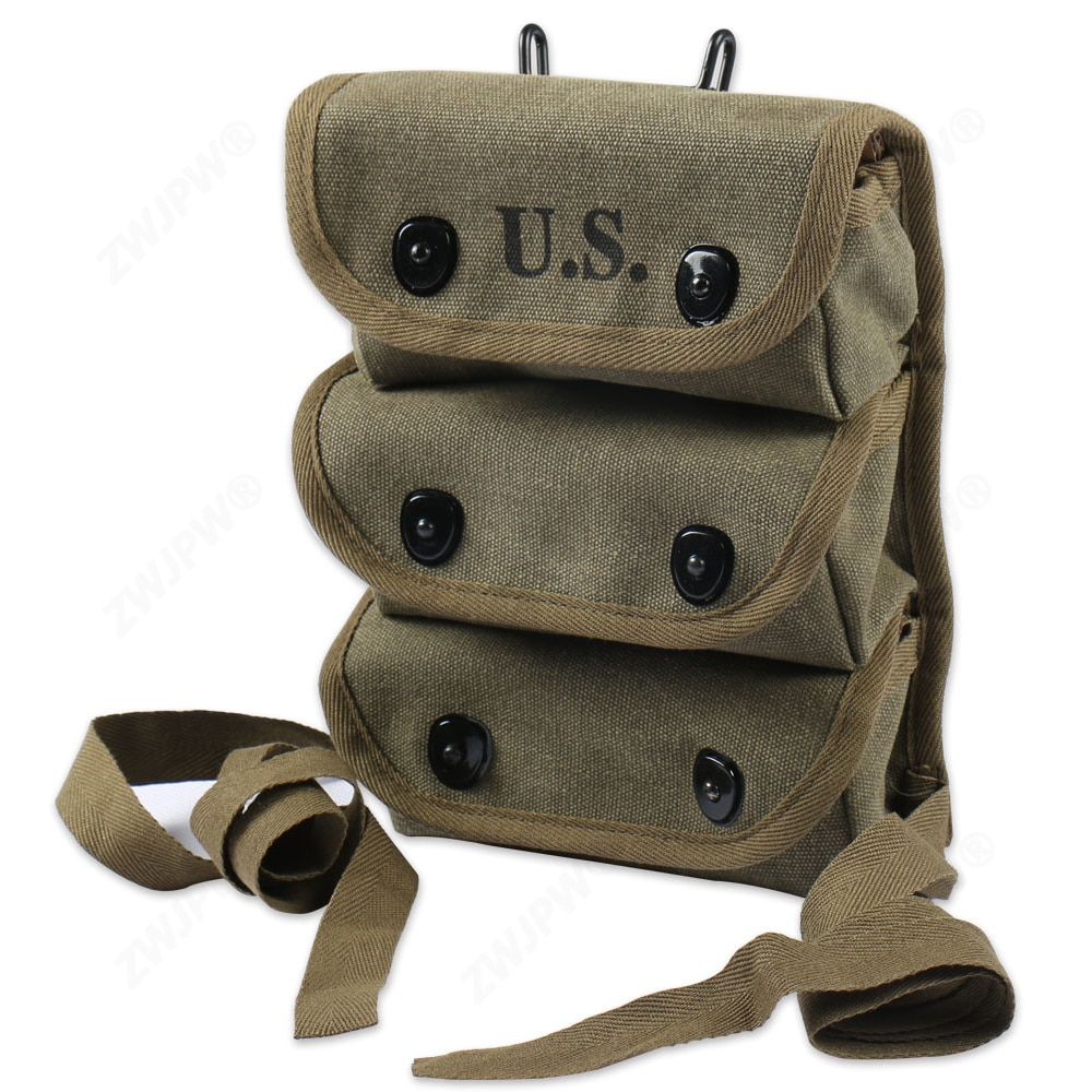 WWII WW2 Ejército de EE. UU. 3 bolsillo bolsa Stock lona transportador de munición