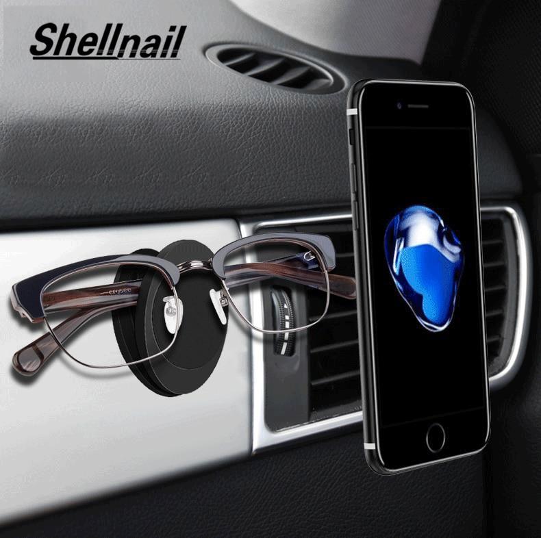 Soportes de teléfono móvil con imán para coche SHELLNAIL para iPhone, soporte multifunción para gafas, soporte magnético Universal para salida de aire, soportes GPS
