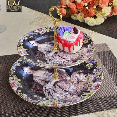 صينية صينية خزفية للوجبات الخفيفة ، كعكة ، فواكه ، شاي ، على الطراز الأوروبي ، ذات دورين