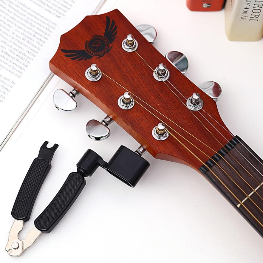 Bobinadora de cuerda de guitarra y cortador todo en 1 Herramienta de refuerzo-incluye cortaúñas, extractor de pasadores de puente, bobinadora de clavija para adaptarse a la mayoría de guitarras