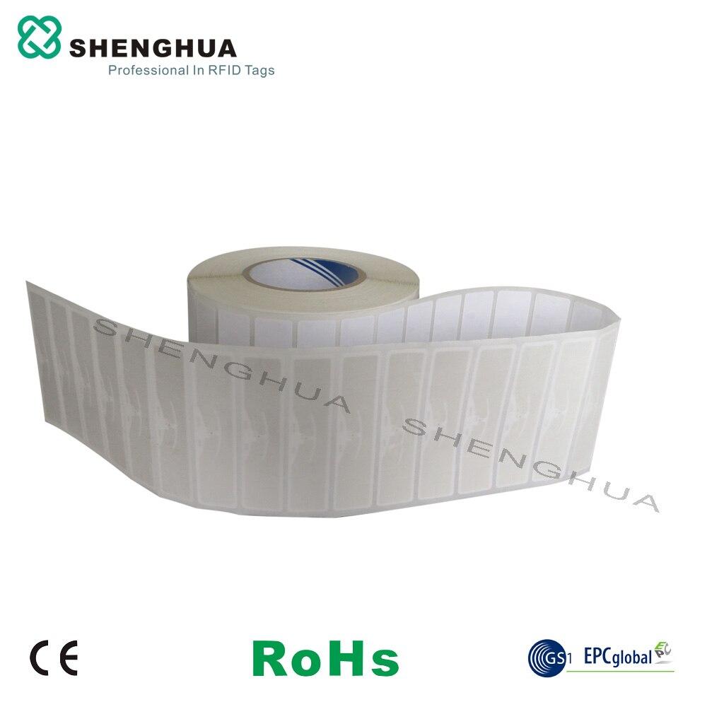 1000 uds/rollo ISO 18000-6C UHF RFID etiquetas de papel pegatinas puede apoyar UHF RFID lector de puerta