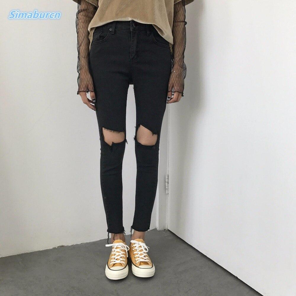 Женские черные джинсовые брюки-карандаш, повседневные брендовые летние джинсы со средней талией, женские модные джинсовые брюки с дырками ...