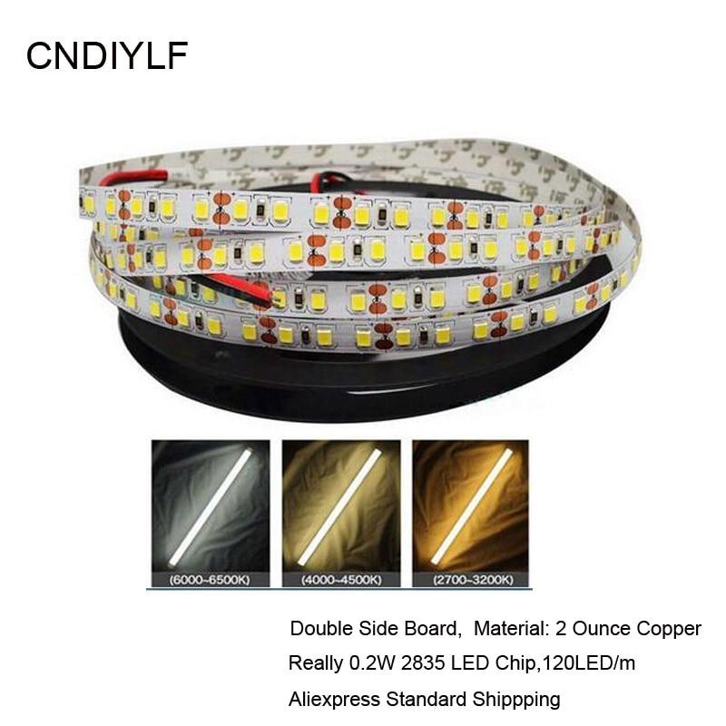 3Years Guarante High Brightness White 2835 LED Strip 5m  Emitting Diode Tape 0.2W/ LED  DC 12V 24V 5m/Roll,120LED/m