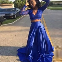 robe de soiree two pieces royal blue long sleeve lace evening dresses sexy v neck women long prom gown formal party dress