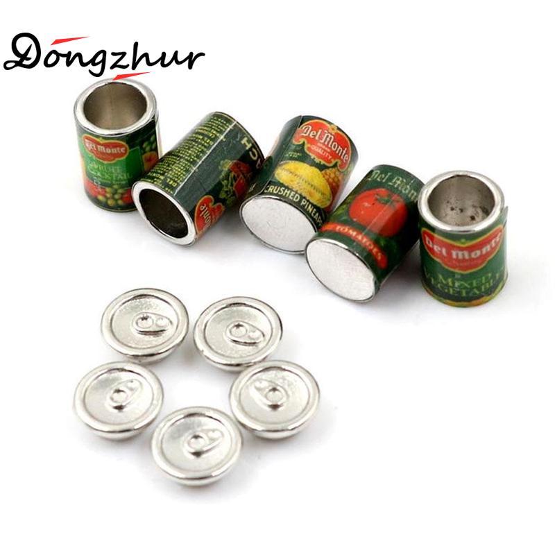 Dongzhur 5 unid/set miniatura en miniatura 112 Mini fruta enlatada 5 latas de juego en miniatura comida rápida casa de muñecas Accesorios