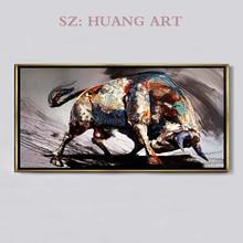 Peintures à lhuile peintes à la main de style minimaliste   Tableau de fond de lallée, tableau noir et blanc, pour salon et hall