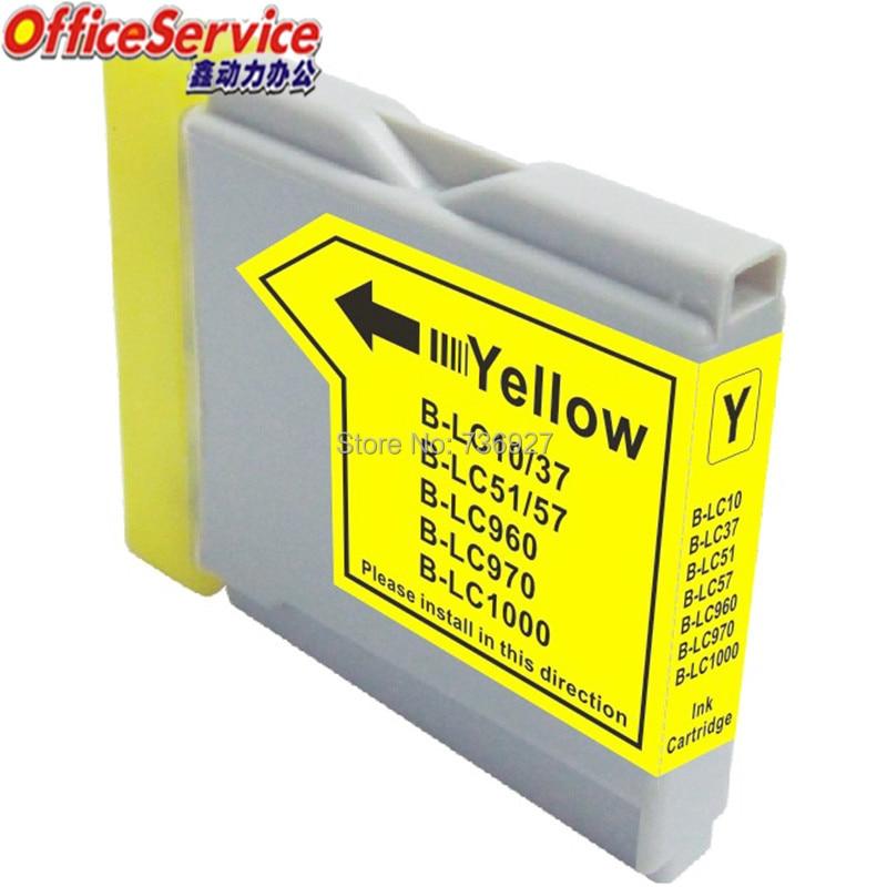 4 cartucho de tinta compatível amarelo lc10 lc37 lc51 lc57 lc970 lc1000 para o irmão DCP-130C 770cn 330c MFC-480CN 660cn 665cw impressora