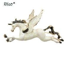 RHao émail blanc cheval volant broches broches élégant cheval jaune animal broche Corsage femmes hommes vêtements bijoux broches broches