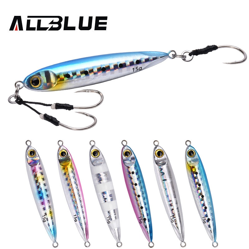 ALLBLUE New SLOWER SLIM Metal Slow Jig Cast Spoon 10G 15G Artificial Bait Shore Fishing Jigging Lead Metal Bass Fishing Lure