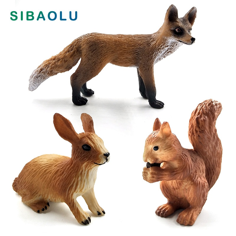 Christmas Simulation Little Fox Rabbit Squirrel Animal Model Figurine Home Decor Miniature Fairy Garden Decoration Accessories