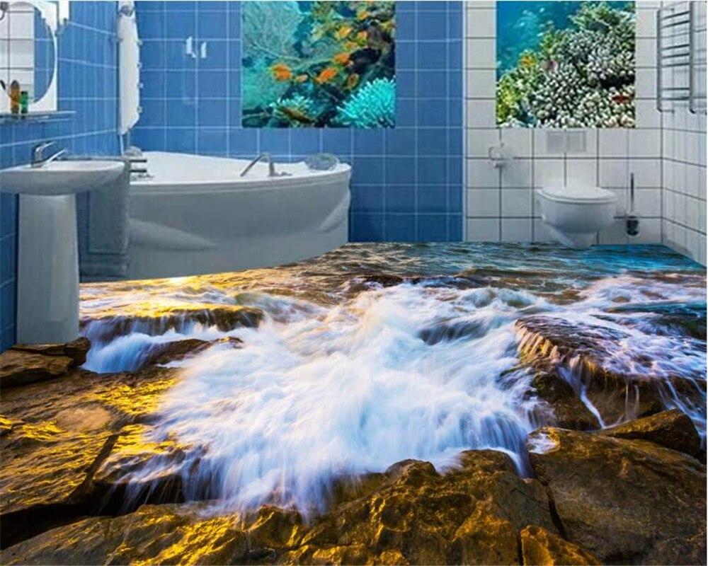 Beibehang una hermosa ola de piedra 3D sala de estar suelo de baño azulejos diseñados de moda Interior papel de pared 3d tapiz tapety