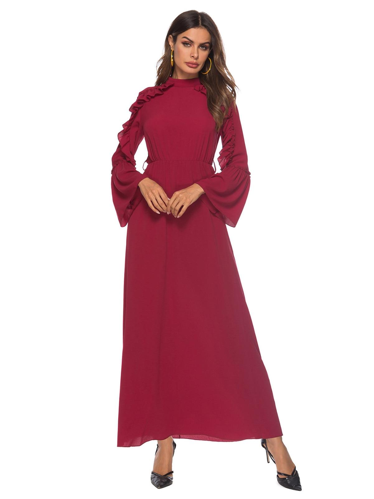 Maxi vestido Abaya musulmán rojo manga acampanada vestido largo vestidos Kimono Ramadán oración islámica servicio de adoración al por mayor 4,13