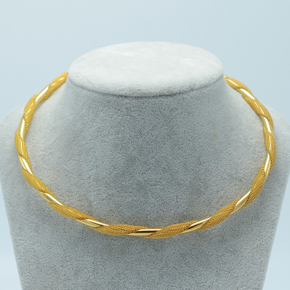 Anniyo 43CM + 7 CM, Halsketten für Frauen Runde Halskette Gold Farbe Afrikanische Mode Zubehör Neue #003706