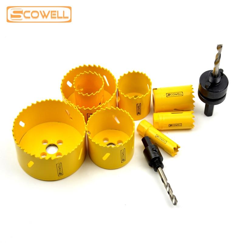 30% Off SCOWELL Holesaw القاطع حزمة بسيطة مع أربور A2 A4 لقطع المعادن هول مناشير شفرات قاطعة دائرة تاج المنشار شفرة
