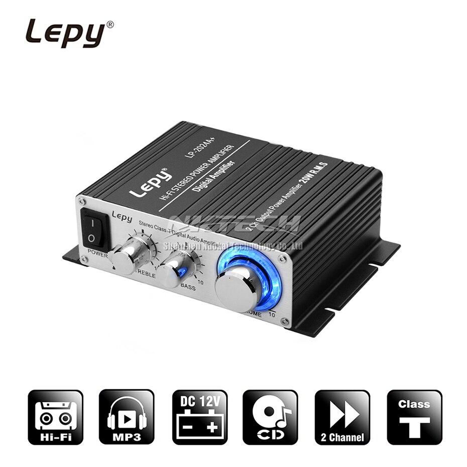LP-2024A+ Lepy Digital Audio Amplifier Power AMP Hi-Fi Home Stereo Class-T Car DIY Player 2CH RMS 20W BASS For MP3 MP4 iPod