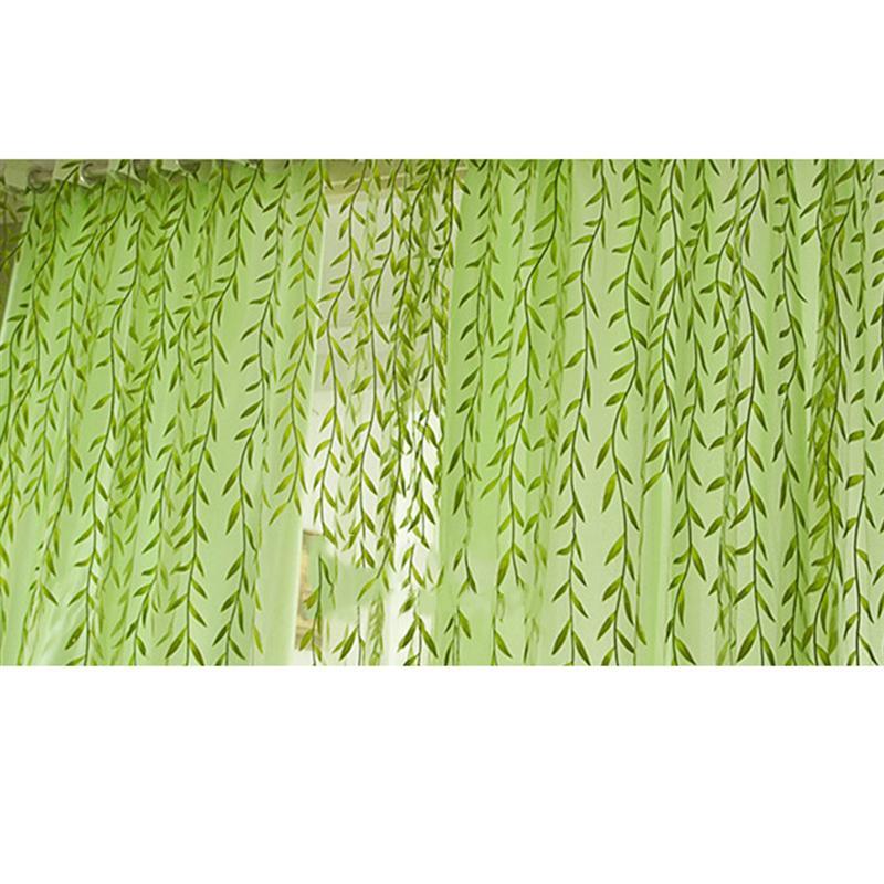 Прозрачный тюль для окна с принтом ивовых листьев, прозрачный экран для балкона, спальни, 100x270 см (зеленый)