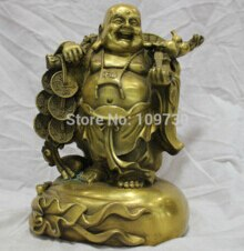 El envío libre de China Pure Bronze Feliz Riendo Buda Llevar Monedas Traer Riqueza Estatua