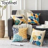 Наволочки Topfinel для подушек, хлопковые Чехлы для кровати, с принтом цветов, птиц, 45x45 см, для домашнего декора, сиденье на диван, стул