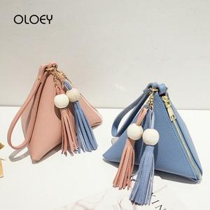 Triangle Tassel Mini Women's Bag Fashion Female Clutch Purse Hand Bag Small PU Leather Shoulder Bag Casual Phone Package Bolsas