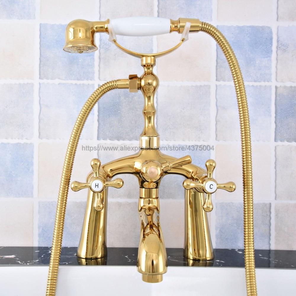 Torneira Da banheira de Ouro Deck Montado Banheira Mixer Torneira Dupla Alça Torneira de Água Quente e Fria Estilo Telefone + chuveiro de mão ntf777