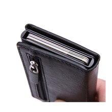 Vintage Antitheft erkekler kredi kart tutucu engelleme Rfid cüzdan deri Unisex güvenlik bilgi alüminyum Metal çanta moda