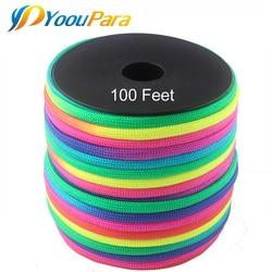Радужный Паракорд YoouPara, 100 футов, катушки 4 мм, 7 нитей, 550 парашютный шнур, Cuerda Escalada, Mil Spec, Тип III, Паракорд для улицы