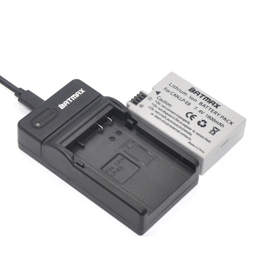 2 piezas 1800 mAh LP-E8 LPE8 LP E8 batería AKKU + LED...