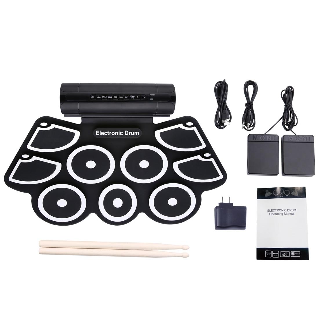 Портативный свернутый электронный барабан набор 9 силиконовых подушек Встроенные колонки с барабанные палочки, ножные педали Поддержка USB ...