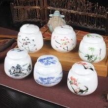 Boîte à thé en porcelaine blanche 1 pièces   mini pot à thé boîte à thé, réservoir de stockage portable scellé caddie à thé en céramique