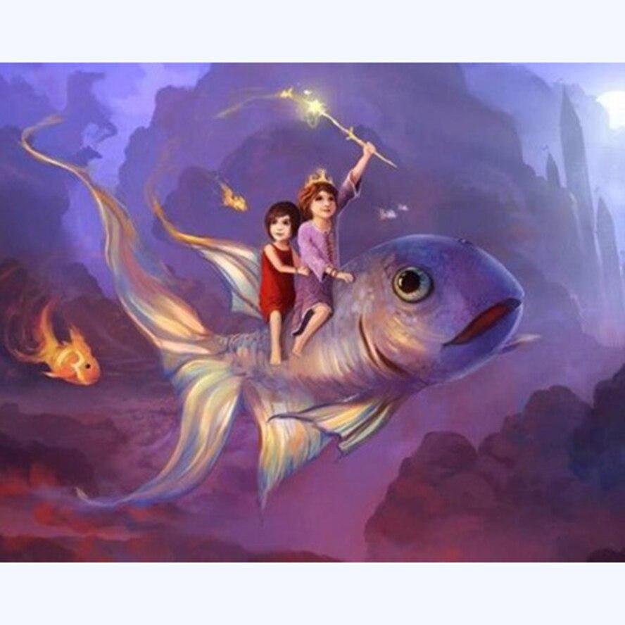 Diy diamante pintura divertido pez rider 5d cuadrado/taladro redondo diamante bordado mosaico artesanía completa costura AS730